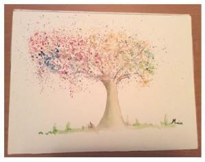 Träd i akvarell-knackning