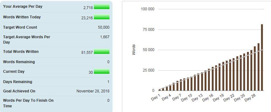 Nanowrimo 2018 - slutresultatet