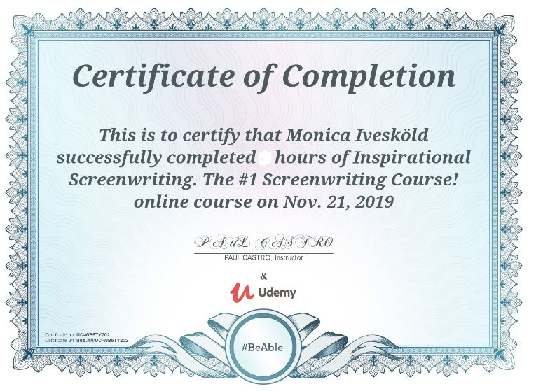 Certifikat The million dollar screenwriting