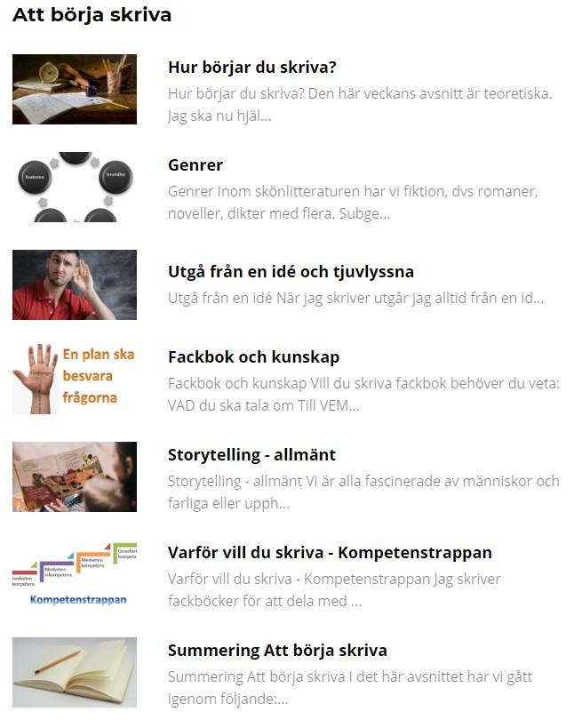 Presentation av början på onlinekursen och boken Börja skriva framgångsRIKT